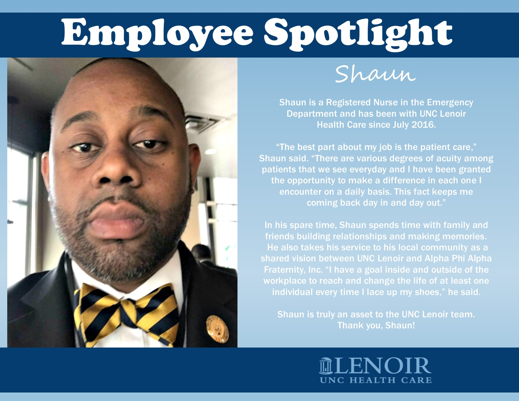 UNC Lenoir Health Care Nurses Week meet Shaun