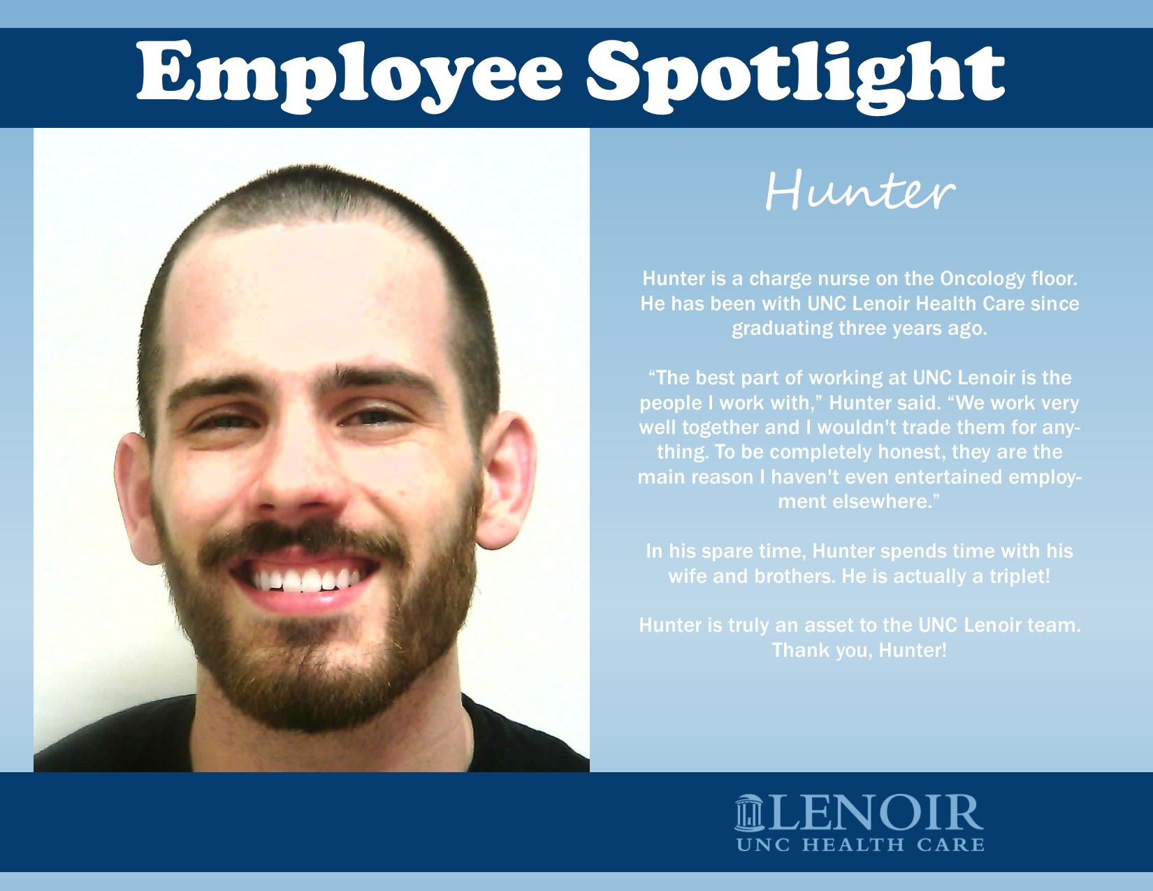 Employee Spotlight  Hunter UNC Lenoir Health Care